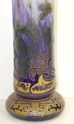 Art Nouveau Daum Nancy Grasshopper Iris Gilded Cameo Glass Vase French 22 Inch