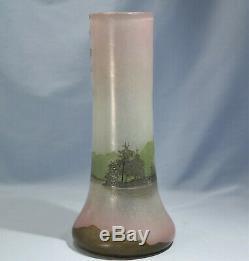 Art Nouveau French Legras Cameo Acid Etched Art Glass Cabinet Vase Circa 1900