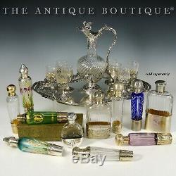 Art Nouveau French Sterling Silver Acid Etched Cameo Glass Liquor Flask Bottle
