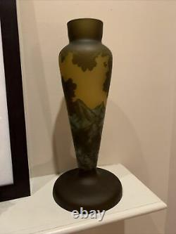 Art Nouveau Galle Cameo Glass Lamp Base 13x6 Beautiful Mountains & Trees Green