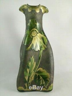 Art Nouveau Mont Joye Legras Cameo Art Glass Vase ca 1920 Poppy Seeds & Leaves