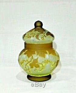 Art Nouveau Style Cameo Glass Lidded Vase / Jar signed Muller Freres Luneville