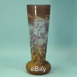 Art Nouveau Violet Deep Orange Emile Galle French Cameo Glass Cabinet Vase C1900
