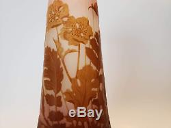 Authentic 9 1/2 Emile Galle Poppy Cameo Vase