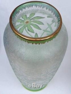Authentic Ca. 1900 Baccarat Cameo Glass Green over Opal over Clear Vase