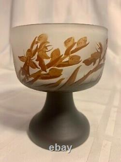 Authentic Signed Galle Cameo Glass Footed Vase/compote Ca. 1910 Mint