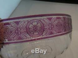 BACCARAT Glass Crystal Val St. Lambert Cranberry Cameo Empire Floral Bowl Lovely