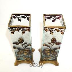 BACCARAT Pair Antique Cameo Glass Vases French Art Nouveau Gilt Metal