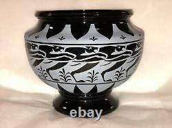 BLACK Panther from Pilgrim Art Glass by Kelsey Murphy Sand Carved Cameo Urn Vase