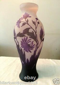 Beautiful 1910 George Raspiller Floral Cameo French Art Nouveau Glass Vase