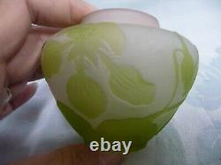 Beautiful Antique Galle Cameo Glass Vase Collection, Pink & Lime Green, Signed