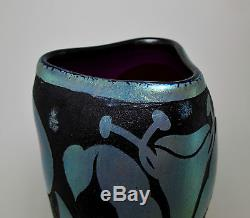 Beautiful KRALIK Iridescent Cameo Art Glass Vase c. 1900-1910 Loetz Era RareDecor