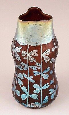 Beautiful Rare LOETZ DEK 292 Etched Cameo Iridescent Art Glass Vase circa 1902