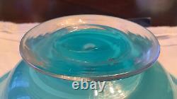 Beautiful Thomas Webb Cameo Blue Iris Motif Blown Glass Bowl