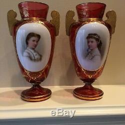 Bohemian Ruby Glass Cameo Portrait Vases-Pair