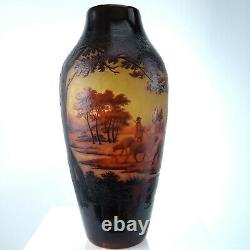 C1910 St Louis D'Argental French Scenic Cameo Glass Vase with Shepherd Scene 11