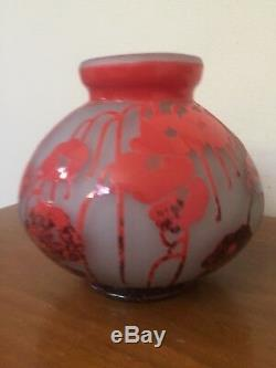 CHARDER FRENCH Cameo Glass Candle Holder Red/Orange EXCELLENT