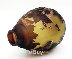 Cameo Art Glass Embossed Vase with with Cherries Signed Galle Tip