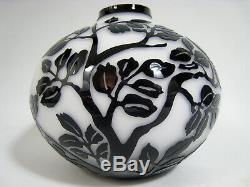 Cameo Art Glass Vase Black Over White Tree Branches & Leaves Mid Century Squat