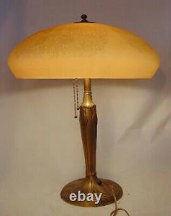 Cameo Art Nouveau Glass Caramel Table Lamp Custard Engraved Flowers