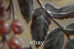 Cameo Galle Blow-Out Overlay Glass Cherry Vase Circa 1900 Antique Art