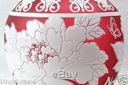 Cameo Ginger Jar/Vase Cranberry Nectar White Crystal (CC10044) Chris Carpenter