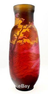 Cameo Glass Art Nouveau Vase with Mill and Bridge 18 Inch Tall Signed Galle Tip