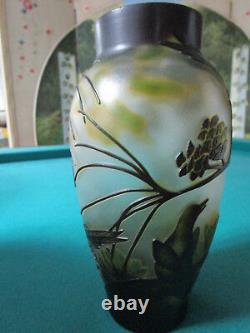Cameo Glass Hand Painted Birds And Foliage 8 1/2 X 4 Galle Style Vase