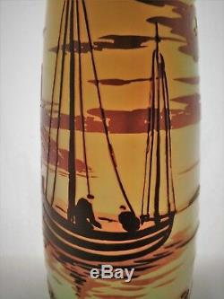 Cameo Glass Vase by De Vez, Detailed scene in three+colors. Water, Boats 10 H