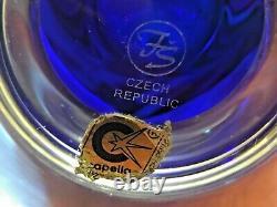 Capella Bohemia Frantisek Sebestaafter Sandblasted Cameo Vase 14 Cobalt Iris