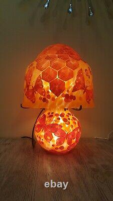 Charder Reproduction Art Deco Cameo Glass Table Lamp Orange Butterfly