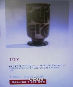 Charder Schneider Antique French Art Deco Cameo Vase Bandes Geometric Decor