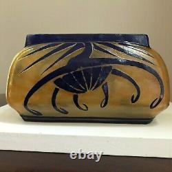 Charles Schneider Cameo Orange & Blue Jardiniere Vase 1920s Candy Cane Mark