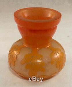 Charles Schneider French Art Deco Glass Miniature Orange Cameo Cut Vase