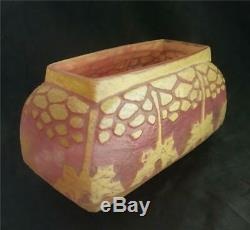 Charles Schneider French Cameo Glass Houx Pink & Yellow 7 Jardiniere Vase 1920S