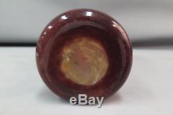 Charles Schneider Perlieres Cameo Glass Vase Acid Cut Orange Deco Signed 18.25