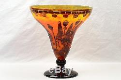 Charles Schneider Vase, 1925-27 Le Verre France Art Deco Bell Flower Coupe