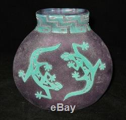 Clair Raabe Vase with Lizards, Geckos, Sand Blasted, Cameo Glass, Southwest 1993