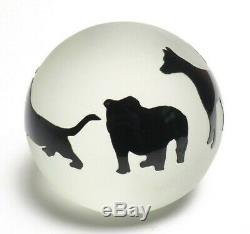 Correia Art Glass Dog Cameo Paperweight