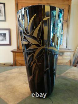 Correia Glass Black and Amber Bamboo Cameo Vase #8542 Limited Edition