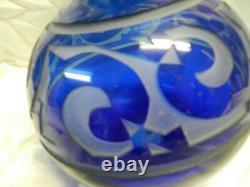 Correia Signed, Large Art Glass Vase, Cobalt Blue Cut Back Cameo Limit. #