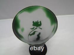 Cristal de SEVRES of France Cameo Vase Green Floral