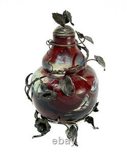 Cristallerie de Emile Galle & Gerard Sandoz Overlaid Cameo Bottle Silver Mounts