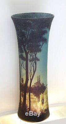 DAUM FRERES grand vase Art Nouveau etched cameo glass c1910 VERRE DE NANCY