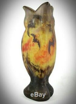 DAUM NANCY Art Nouveau acid etched'BATS' -'CHAUVES SOURIS' Cameo Glass vase