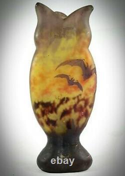 DAUM NANCY Art Nouveau cameo glass vase acid etched BATS'/'CHAUVES SOURIS