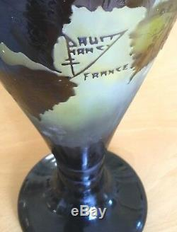 DAUM NANCY France-17 Vase-Cameo-Brown Leaves-Vines-Berries-FREE Shipping