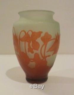 DEGUE French Cameo Art Glass Cabinet Vase, c. 1920's