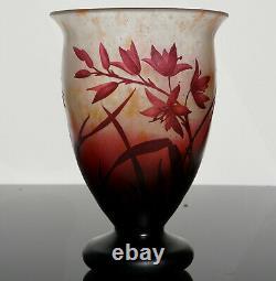 Daum Nancy Art Nouveau Cameo Floral Red Footed Vase, 1920