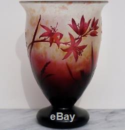 Daum Nancy Art Nouveau Cameo Floral Red Footed Vase 1920